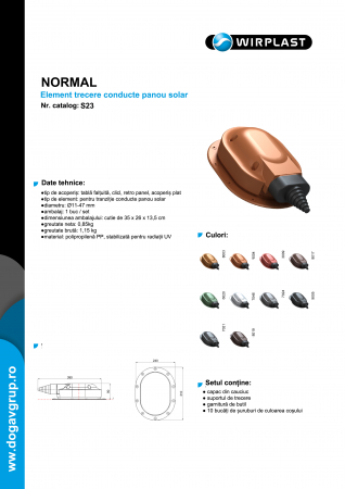 Element trecere conducte panou solar tabla faltuita, click, retro panel Cărămizu RAL 8004 [1]