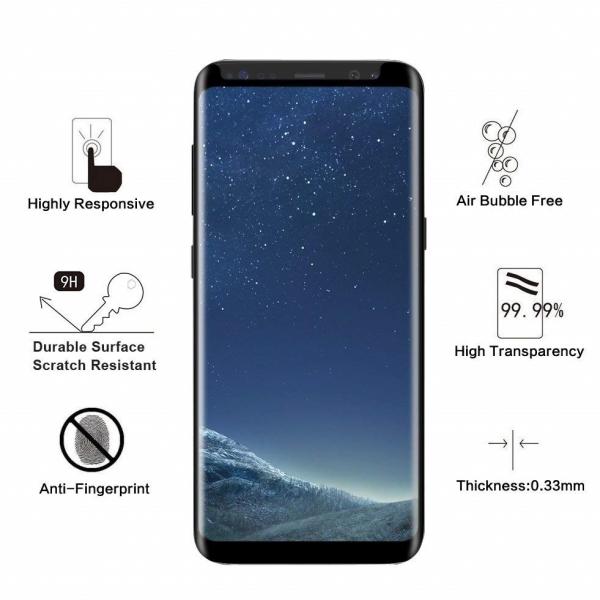 Folie sticla curbata Full Glue Samsung Galaxy S8, Negru 2