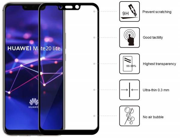Folie sticla securizata 5D Full Glue Huawei Mate 20 Lite, Negru 1