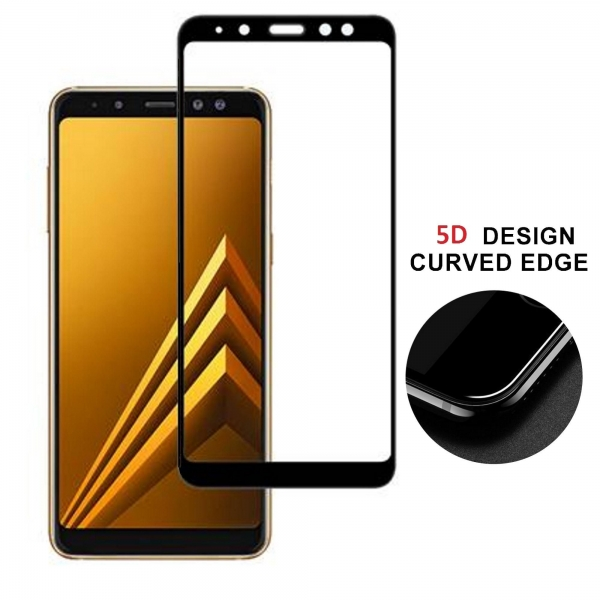 Folie sticla securizata 5D Full Glue Samsung Galaxy A8 (2018), Negru 3