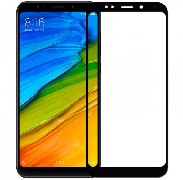 Folie sticla securizata 5D Full Glue Xiaomi Redmi 5 Plus, Negru [0]