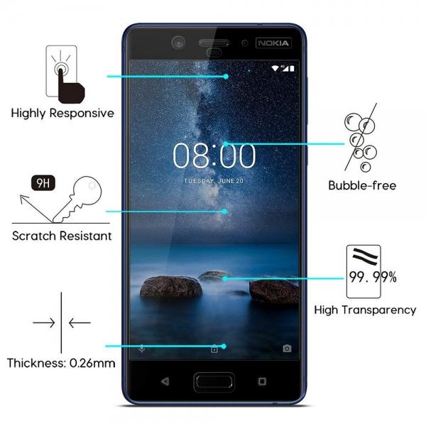Folie sticla securizata Full Glue Nokia 8, Black [1]