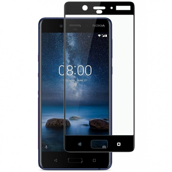 Folie sticla securizata Full Glue Nokia 8, Black [0]