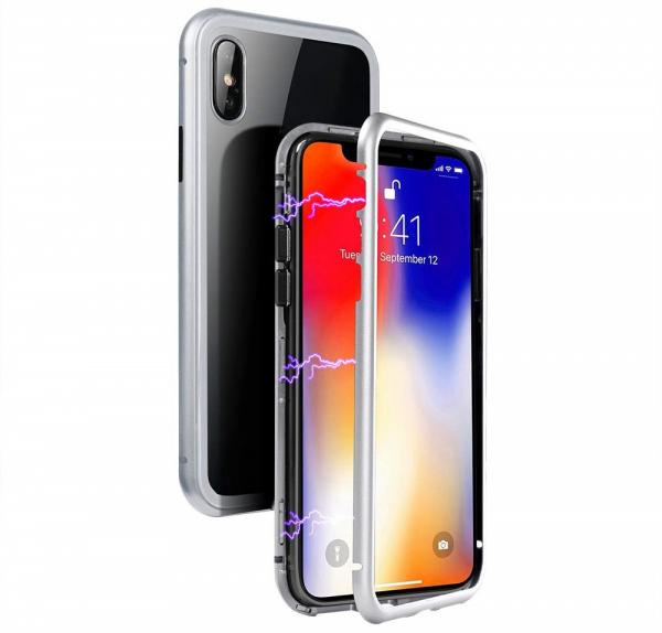 Husa 360 Magnetic Case pentru iPhone X, Silver 1