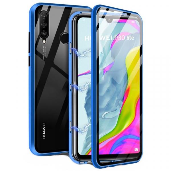 Husa 360 Magnetic Glass (sticla fata + spate) pentru Huawei P30 Lite, Albastru 0