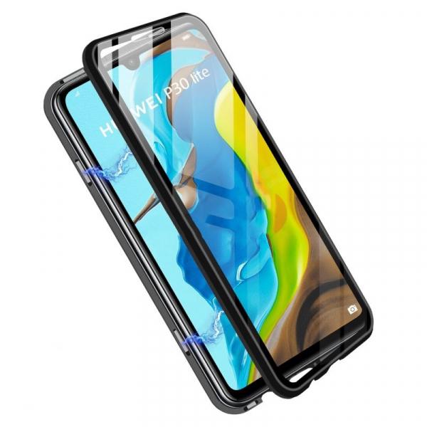 Husa 360 Magnetic Glass (sticla fata + spate) pentru Huawei P30 Lite, Negru 1
