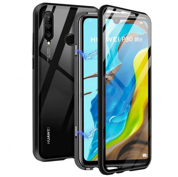 Husa 360 Magnetic Glass (sticla fata + spate) pentru Huawei P30 Lite, Negru 0