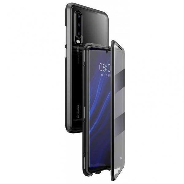 Husa 360 Magnetic Glass (sticla fata + spate) pentru Huawei P30, Negru 0