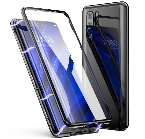 Husa 360 Magnetic Glass (sticla fata + spate) pentru Huawei P30 Pro, Negru 0