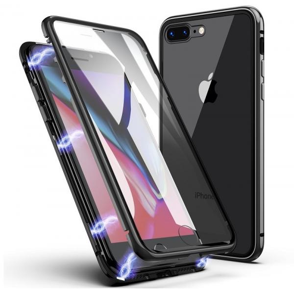 Husa 360 Magnetic Glass (sticla fata + spate) pentru iPhone 8 Plus, Negru 0
