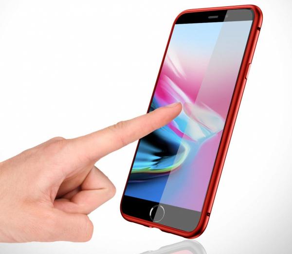 Husa 360 Magnetic Glass (sticla fata + spate) pentru iPhone 8 Plus, Red [3]