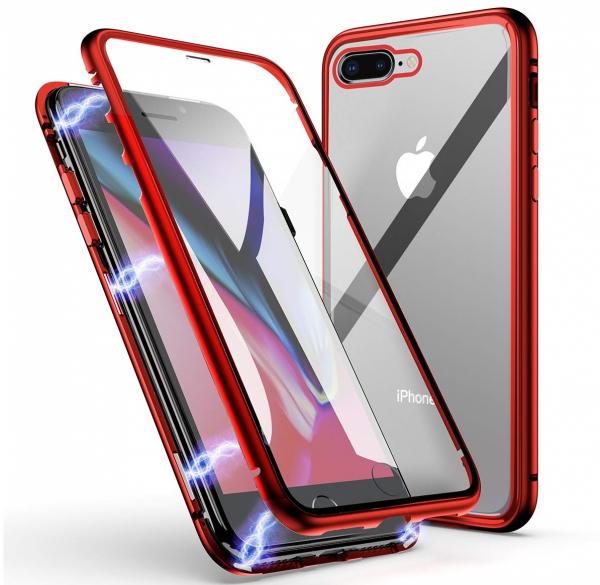 Husa 360 Magnetic Glass (sticla fata + spate) pentru iPhone 8 Plus, Red [0]