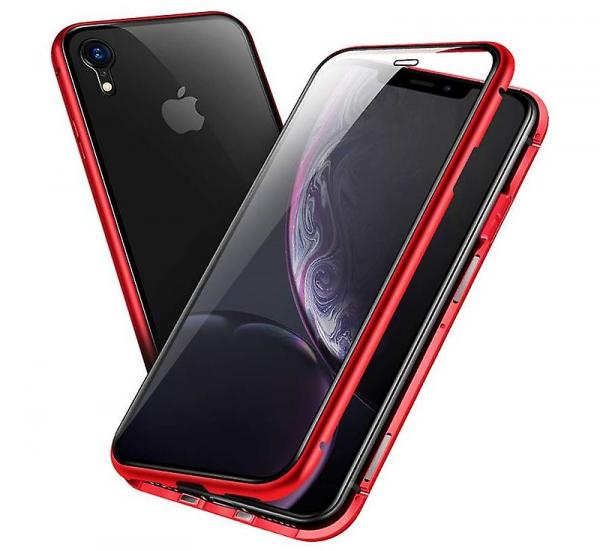 Husa 360 Magnetic Glass (sticla fata + spate) pentru iPhone XR, Red 1
