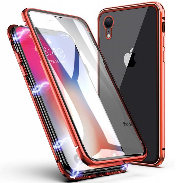 Husa 360 Magnetic Glass (sticla fata + spate) pentru iPhone XR, Red 0
