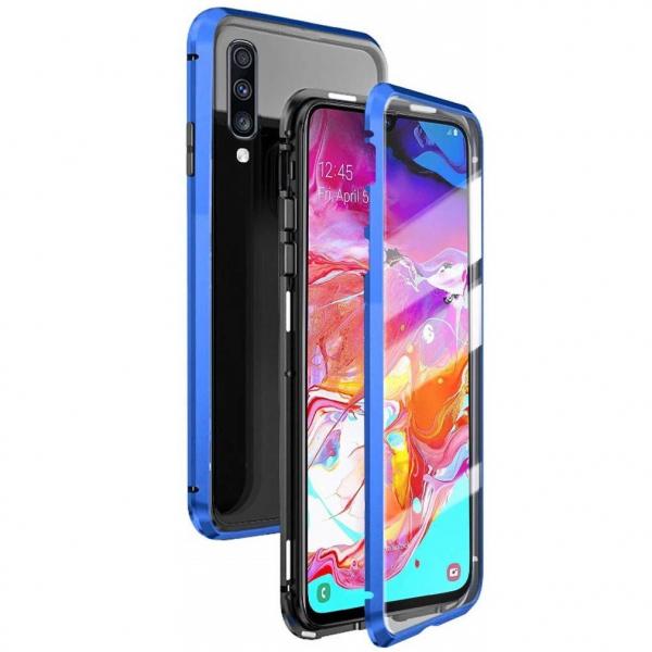 Husa 360 Magnetic Glass (sticla fata + spate) pentru Samsung Galaxy A70, Albastru 0