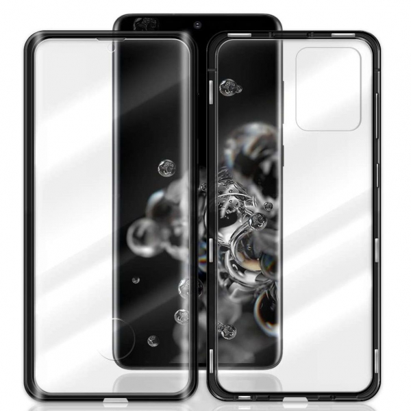 Husa Samsung Galaxy S20 Ultra Magnetic Glass 360 (sticla fata + spate), Negru 1