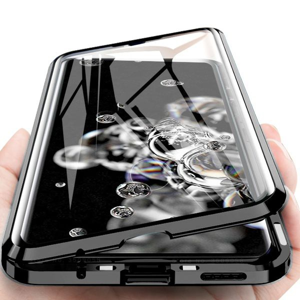 Husa Samsung Galaxy S20 Ultra Magnetic Glass 360 (sticla fata + spate), Negru 2