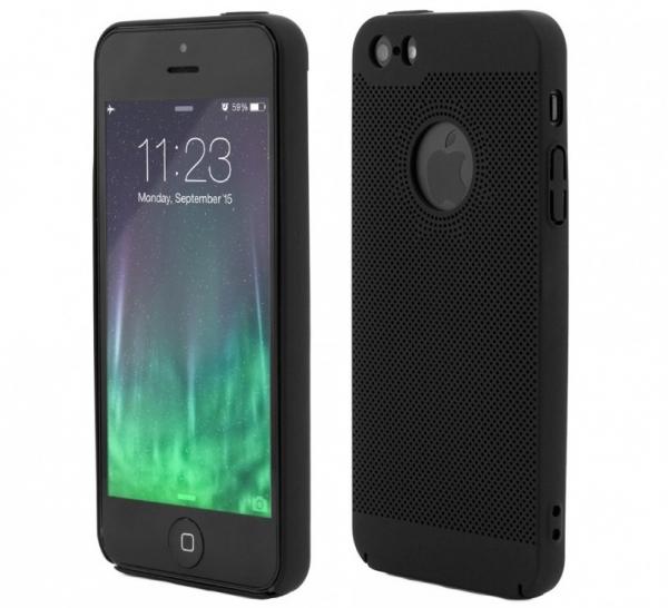 Husa Air cu perforatii iPhone 5 / 5S / SE, Negru [0]