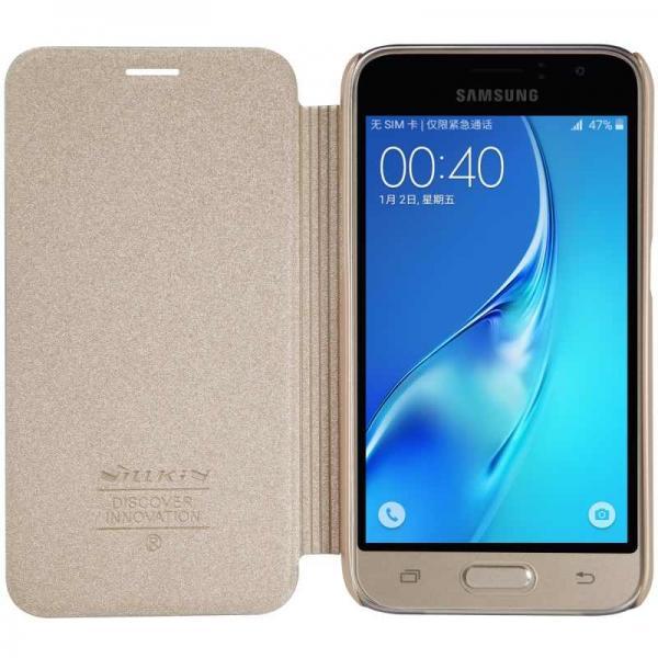 Husa Book Nillkin Sparkle Samsung Galaxy J1 (2016), Gold