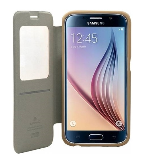 Husa Book View Mercury Goospery Wow Samsung Galaxy S6, Gold 2