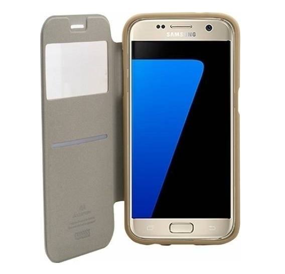 Husa Book View Mercury Goospery Wow Samsung Galaxy S7, Gold 2