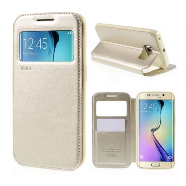 Husa Book View Roar Noble Samsung Galaxy S6 Edge Plus, Gold