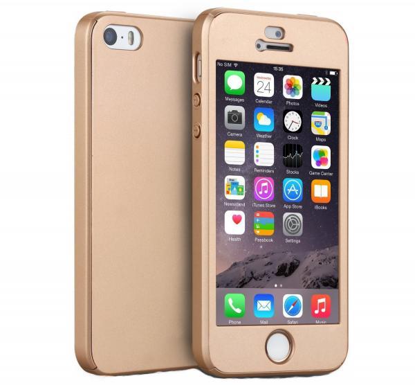 Husa Full Cover 360 (fata + spate + geam sticla) pentru Apple iPhone 5 / 5S / SE, Gold 0