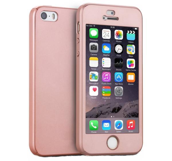 Husa Full Cover 360 (fata + spate + geam sticla) pentru Apple iPhone 5 / 5S / SE, Rose Gold 0