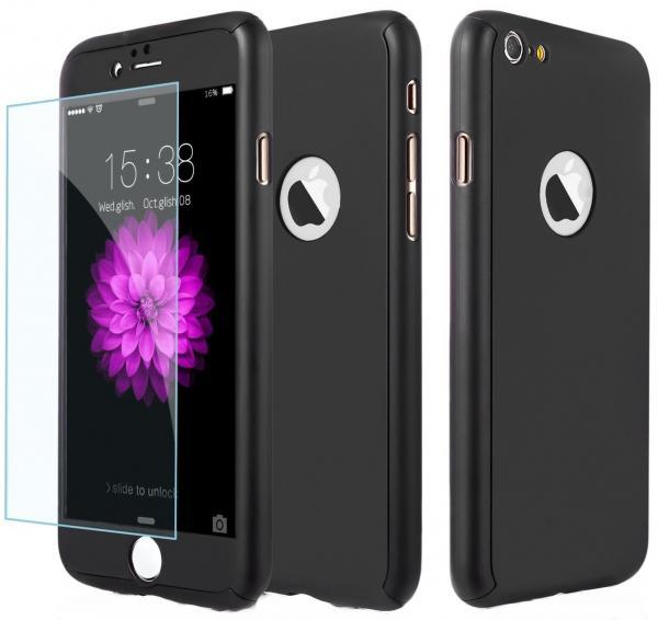 Husa Full Cover 360 (fata + spate + geam sticla) pentru Apple iPhone 6 Plus / 6S Plus, Negru [0]