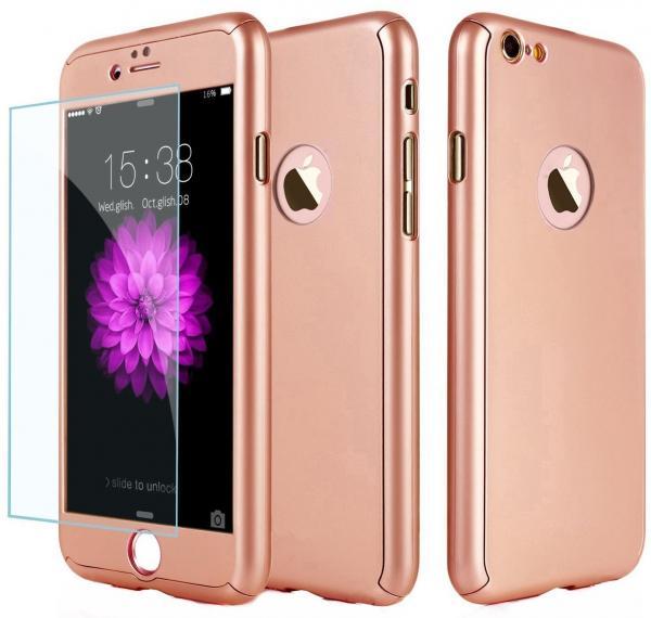 Husa Full Cover 360 (fata + spate + geam sticla) pentru Apple iPhone 6 Plus / 6S Plus, Rose Gold 0