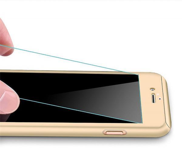 Husa Full Cover 360 (fata + spate + geam sticla) pentru Apple iPhone 7 Plus, Gold 1