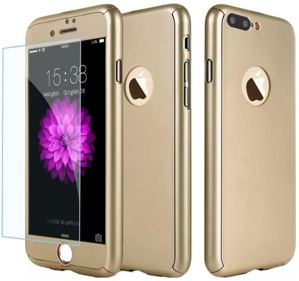Husa Full Cover 360 (fata + spate + geam sticla) pentru Apple iPhone 7 Plus, Gold 0
