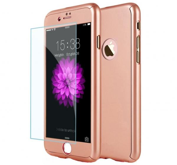 Husa Full Cover 360 (fata + spate + geam sticla) pentru Apple iPhone 7 Plus, Rose Gold [0]