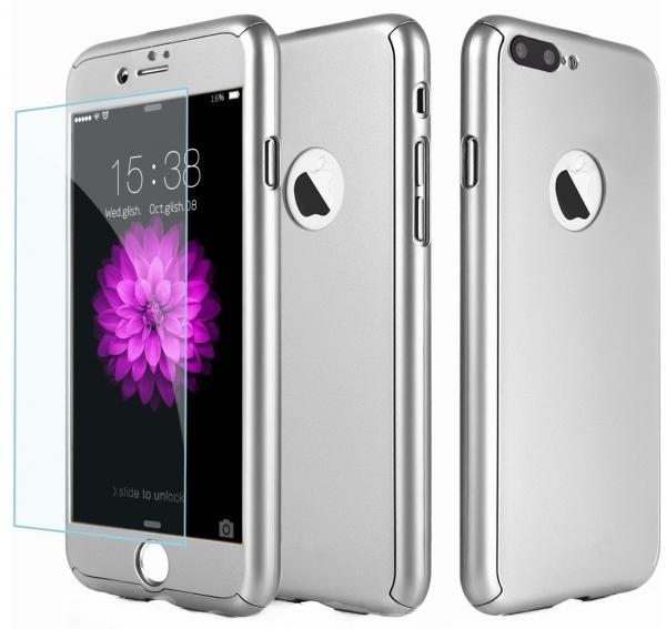 Husa Full Cover 360 (fata + spate + geam sticla) pentru Apple iPhone 7 Plus, Silver 0