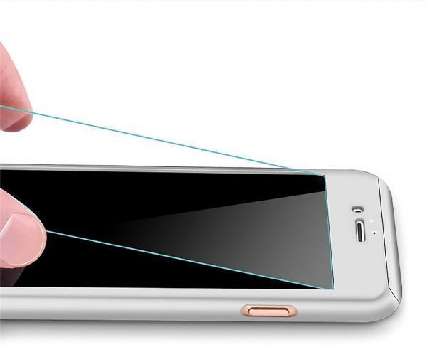 Husa Full Cover 360 (fata + spate + geam sticla) pentru Apple iPhone 7 Plus, Silver 1