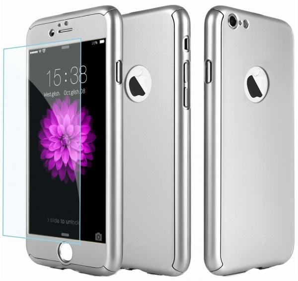 Husa Full Cover 360 (fata + spate + geam sticla) pentru Apple iPhone 7, Silver 0
