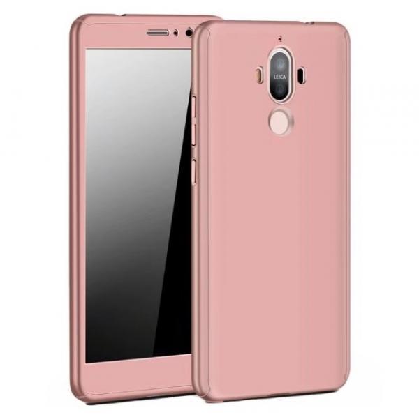 Husa Full Cover 360 (fata + spate + geam sticla) pentru Huawei Mate 9, Rose Gold 0