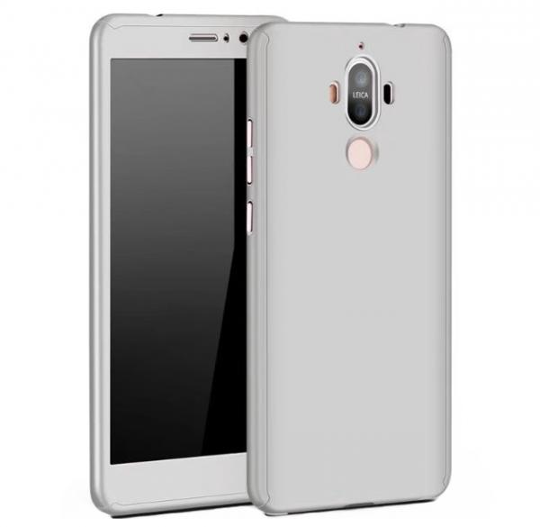 Husa Full Cover 360 (fata + spate + geam sticla) pentru Huawei Mate 9, Silver 0