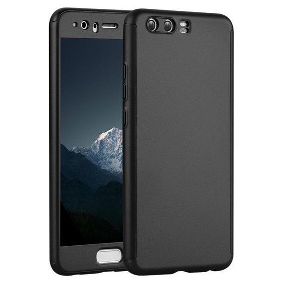 Husa Full Cover 360 (fata + spate + geam sticla) pentru Huawei P10, Negru 0
