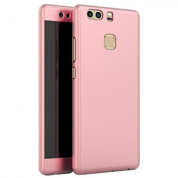 Husa Full Cover 360 (fata + spate + geam sticla) pentru Huawei P9, Rose Gold [0]