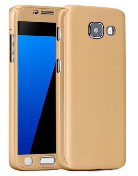 Husa Full Cover 360 (fata + spate + geam sticla) pentru Samsung Galaxy A3 (2017), Gold 0