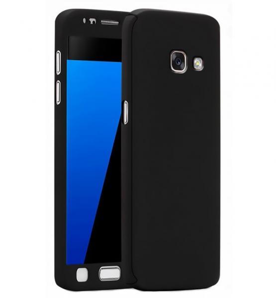Husa Full Cover 360 (fata + spate + geam sticla) pentru Samsung Galaxy A3 (2017), Negru 0