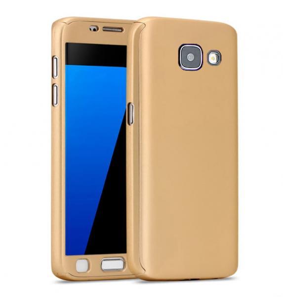 Husa Full Cover 360 (fata + spate + geam sticla) pentru Samsung Galaxy A5 (2016), Gold 0
