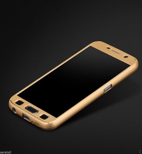 Husa Full Cover 360 (fata + spate + geam sticla) pentru Samsung Galaxy A5 (2016), Gold 1