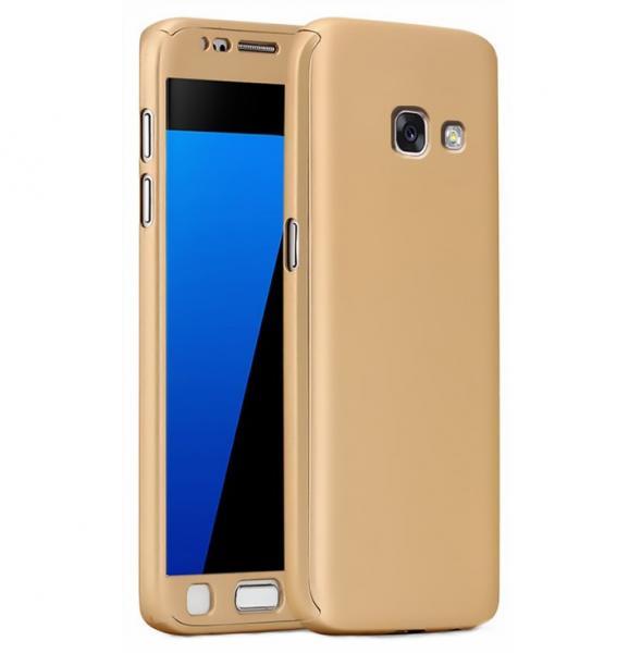 Husa Full Cover 360 (fata + spate + geam sticla) pentru Samsung Galaxy A5 (2017), Gold 0