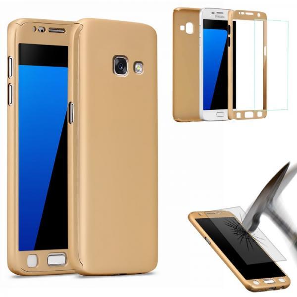 Husa Full Cover 360 (fata + spate + geam sticla) pentru Samsung Galaxy A5 (2017), Gold 1