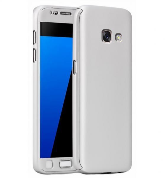 Husa Full Cover 360 (fata + spate + geam sticla) pentru Samsung Galaxy A5 (2017), Silver 0