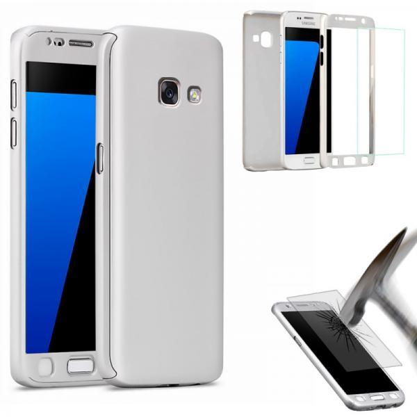 Husa Full Cover 360 (fata + spate + geam sticla) pentru Samsung Galaxy A5 (2017), Silver