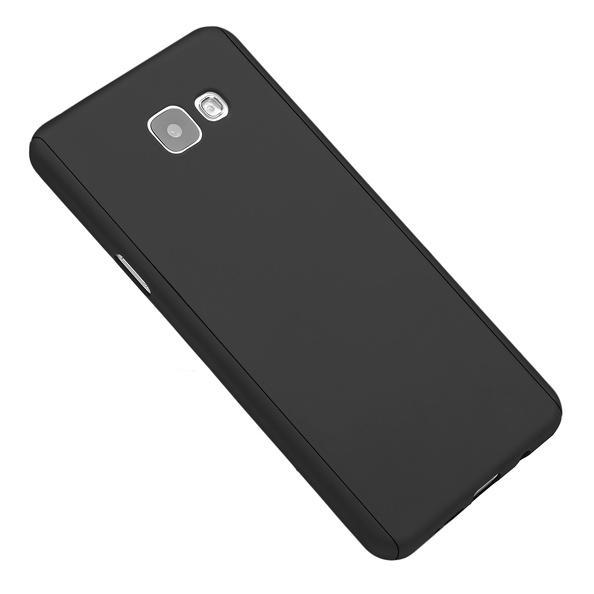 Husa Full Cover 360 (fata + spate + geam sticla) pentru Samsung Galaxy A7 (2016), Negru 2