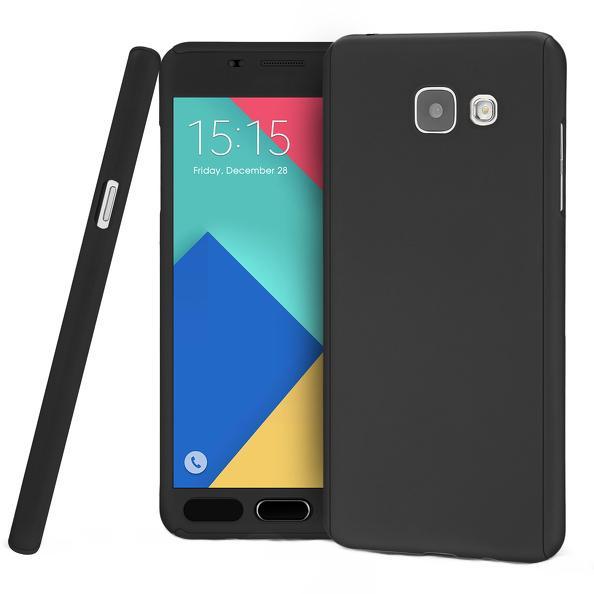 Husa Full Cover 360 (fata + spate + geam sticla) pentru Samsung Galaxy A7 (2016), Negru 0